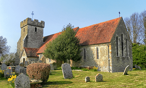 West Sussex church building near Lancing